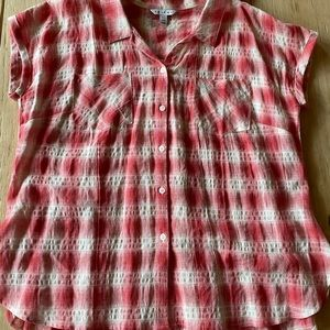 Tribal plaid blouse, top, short sleeve